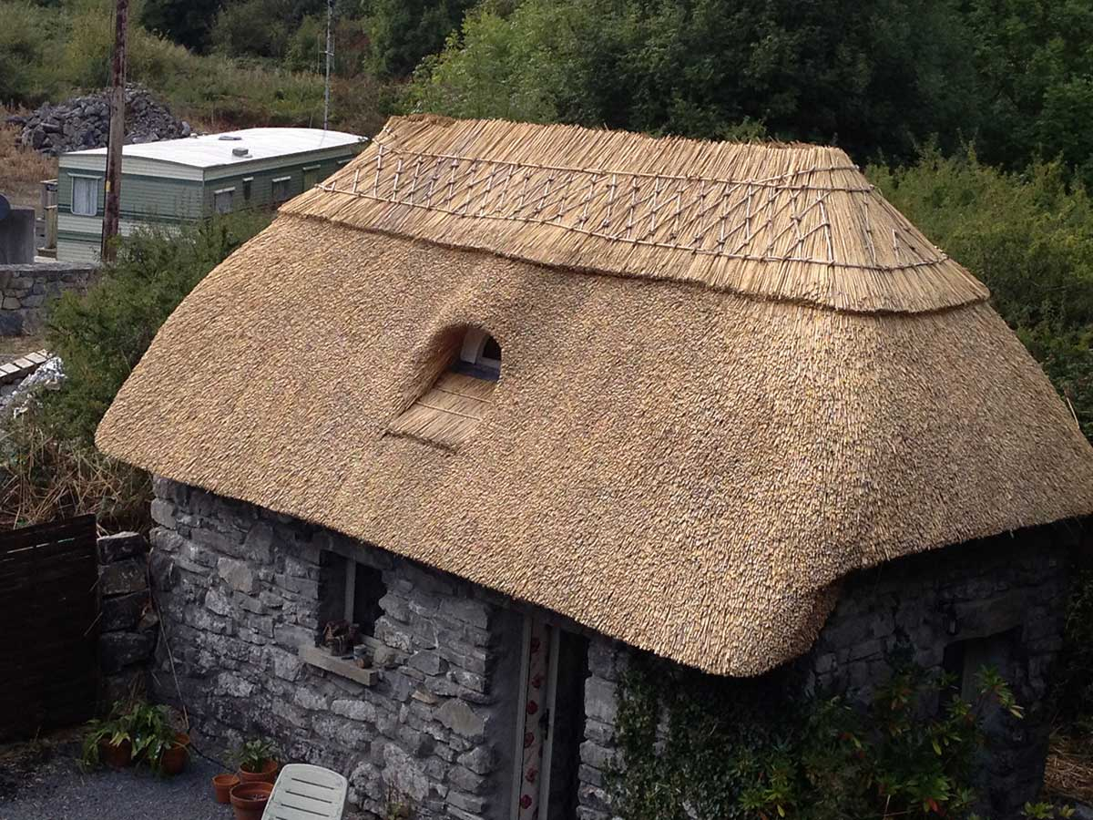 freshly thatched cottage finn thatching galway