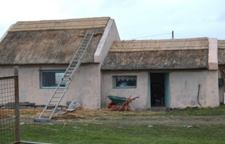 working on ballyconnelly thatch roof